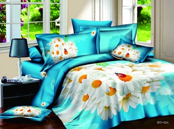 3D White Daisy Printed Cotton 4-Piece Blue Bedding Sets/Duvet Covers