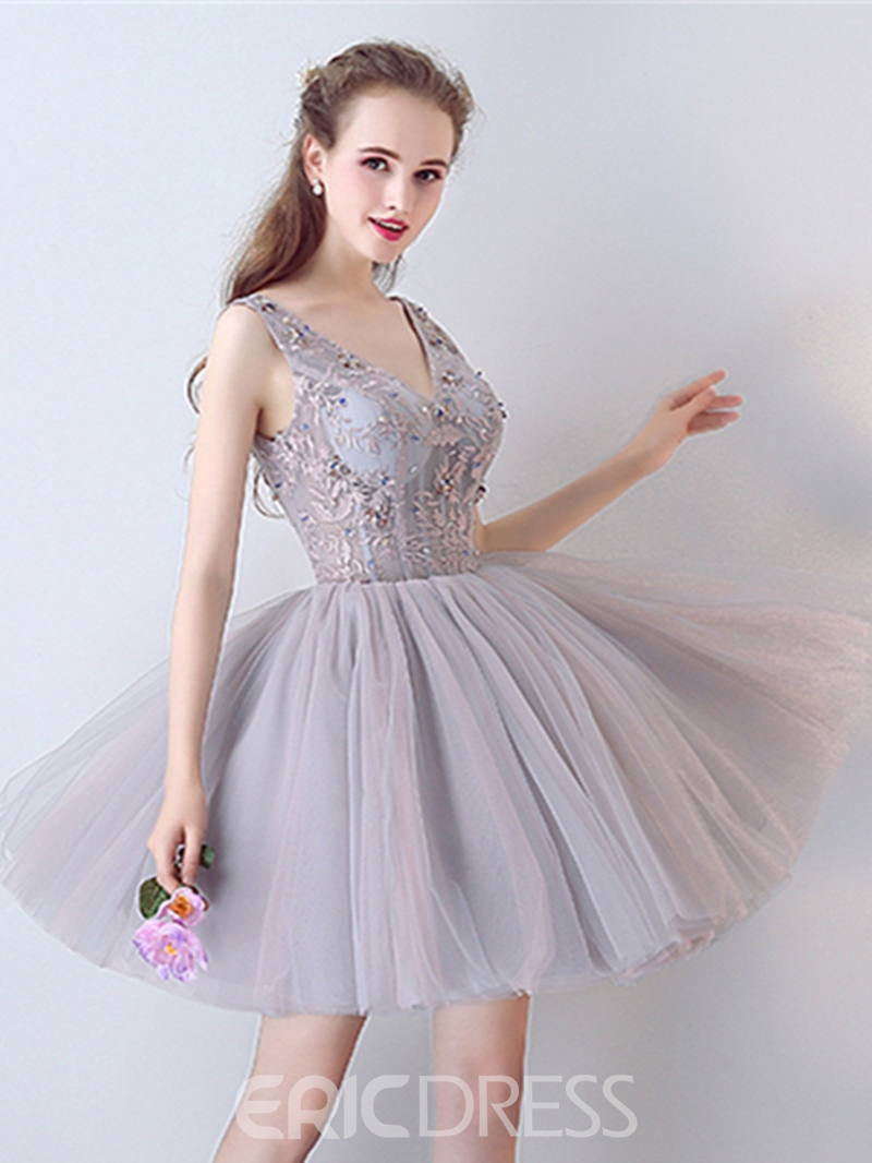 Ericdress A-Line Beaded Lace V-Neck Short Homecoming Dress
