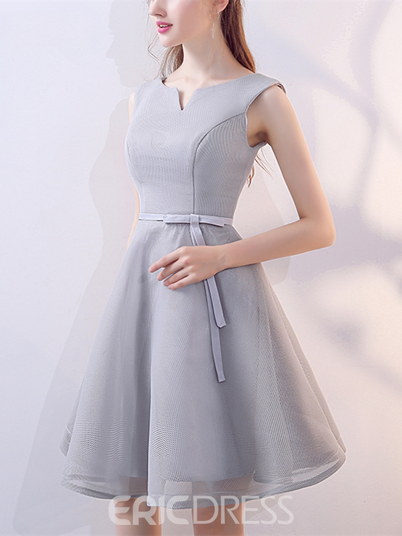 Ericdress A-Line Sashes Bowknot V-Neck Knee-Length Homecoming Dress