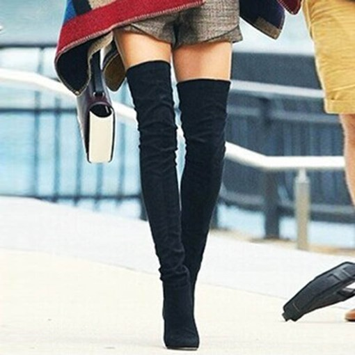 Ericdress Plain Pointed Toe Stiletto Heel Knee High Boots