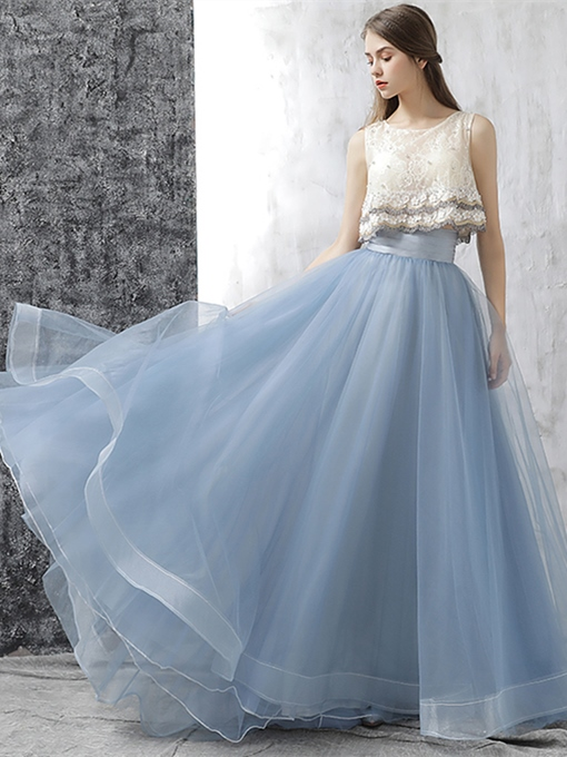 Ericdress Two Pieces 3D Flowers Lace Prom Dress 2019