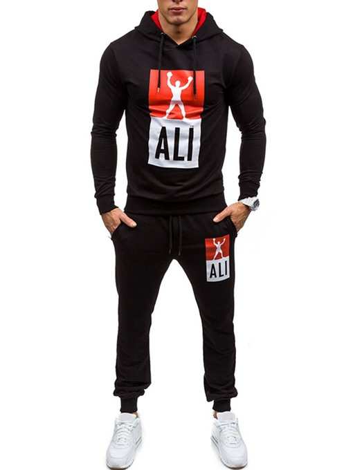 Eridress Letter Print Pullover Cotton Slim Men's Sports Suit