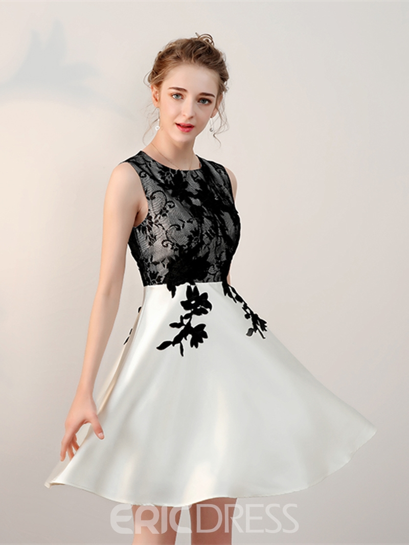 Ericdress A-Line Scoop Appliques Lace Short Homecoming Dress