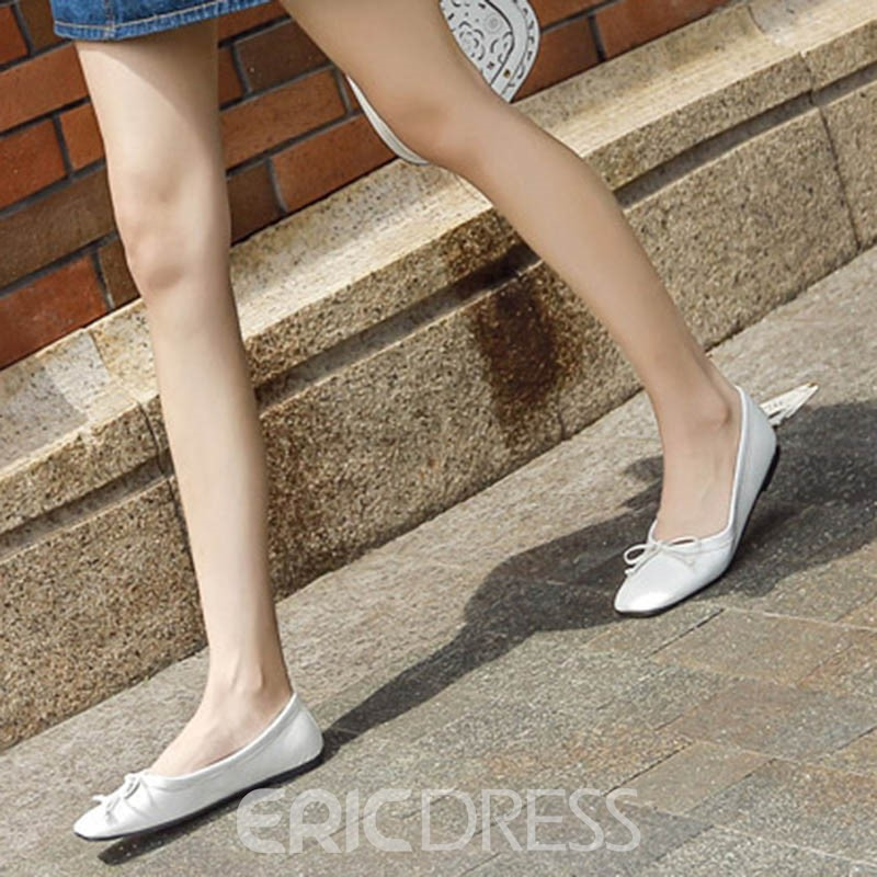 Ericdress Square Toe Plain Flats with Bowknot
