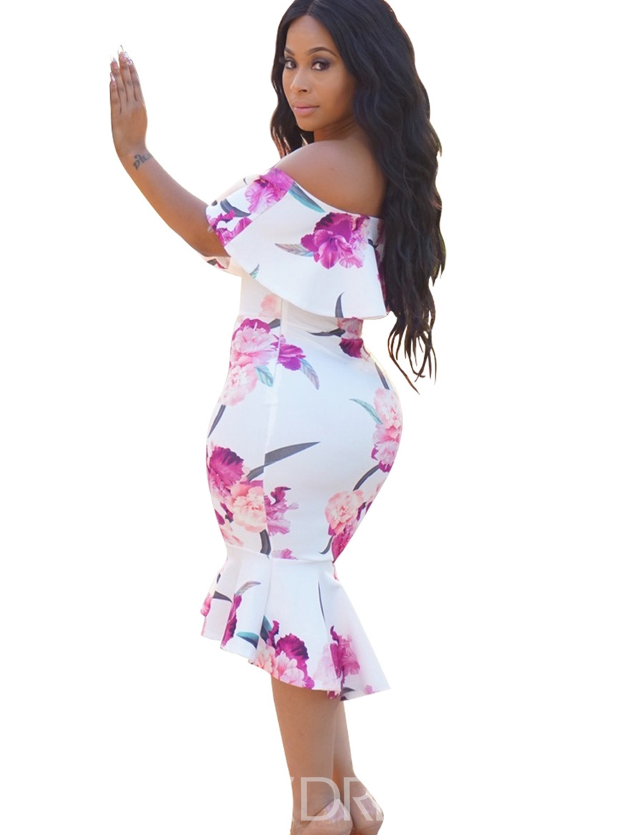 Ericdress Off-The-Shoulder Floral Mermaid Bodycon Dress