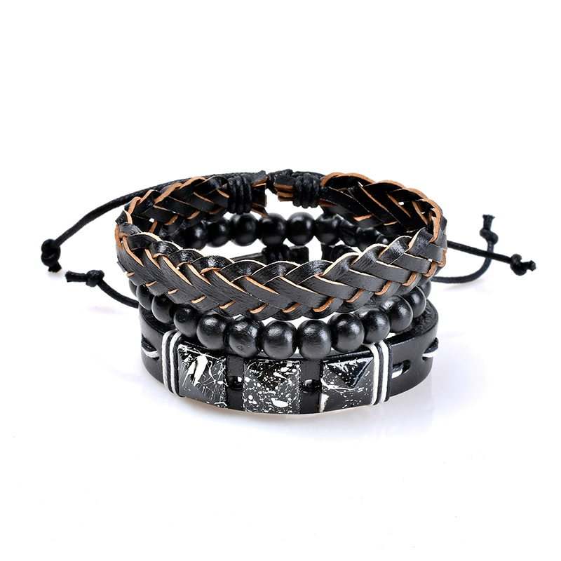 Ericdress Natural Layered Beads Women's Leather Bracelet