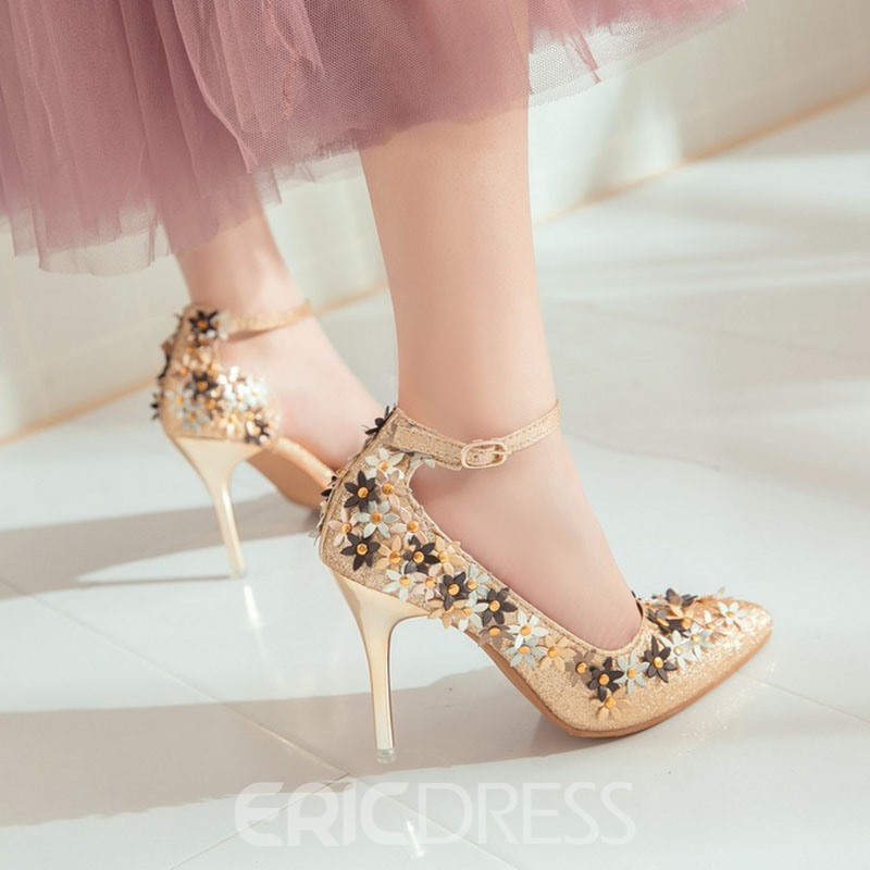 Ericdress Glitter Rivet Pointed Toe Women's Pumps