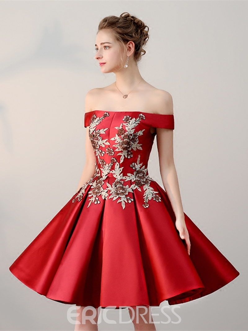 Ericdress A Line Off The Shoulder Satin Lace-Up Back Short Homecoming Dress