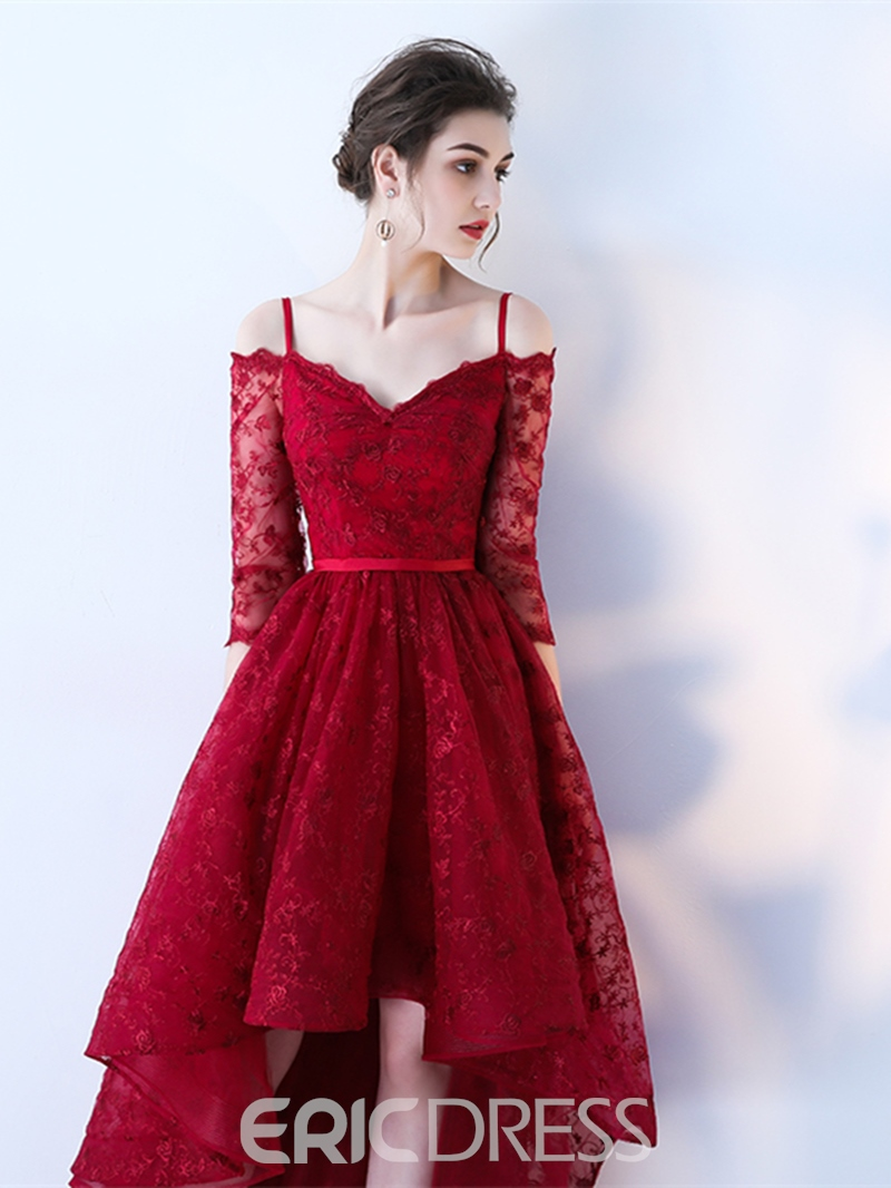Ericdress Spaghetti Straps A-Line Lace Asymmetry Prom Dress With Half Sleeves