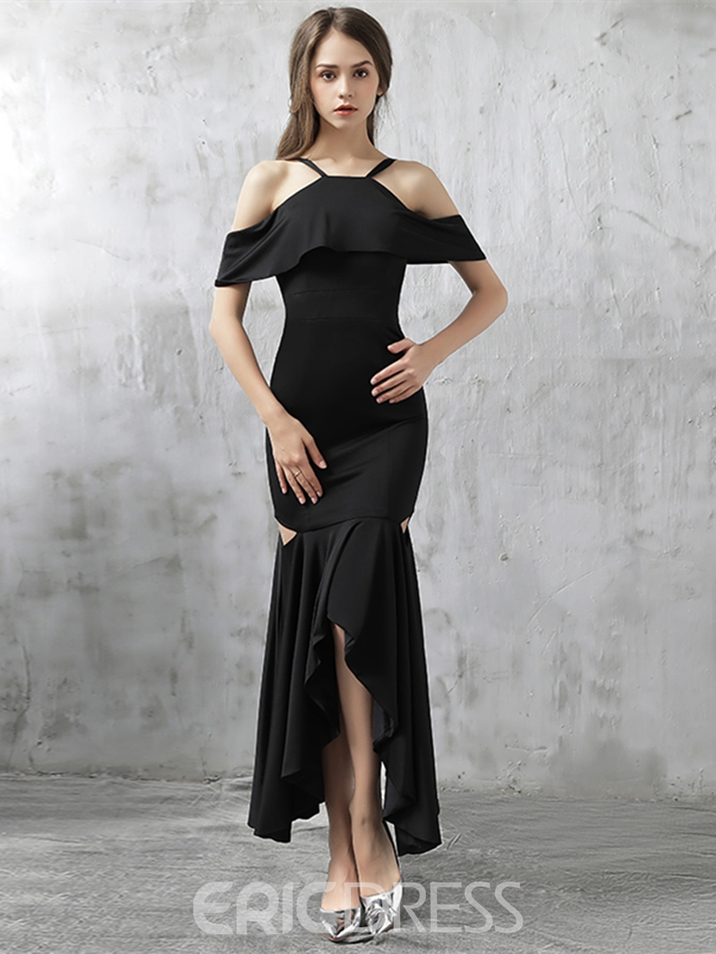 Ericdress Sheath Halter Short Sleeves Split-Front Asymmetry Evening Dress