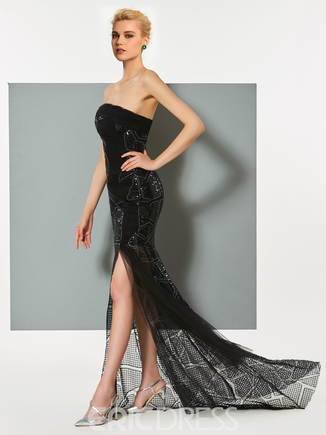 Ericdress Sheath Strapless Sequin Pleats Slit Evening Dress