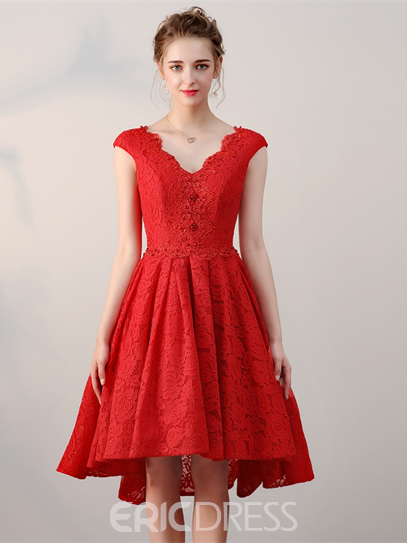 Ericdress A-Line V-Neck Cap Sleeves Lace Pearl Short Homecoming Dress