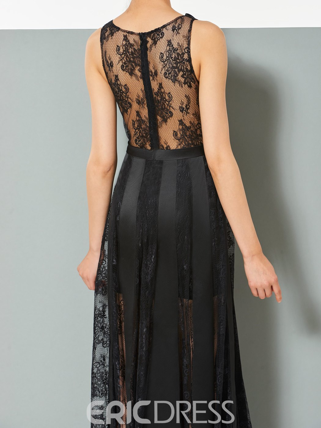 Ericdress A Line Sheer Lace Slit Floor Length Evening Dress