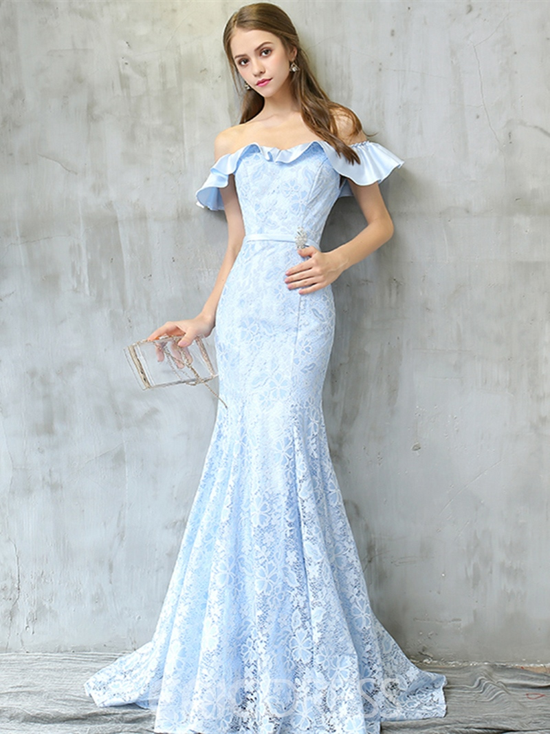 Ericdress Sweet Off The Shoulder Lace Mermaid Evening Dress