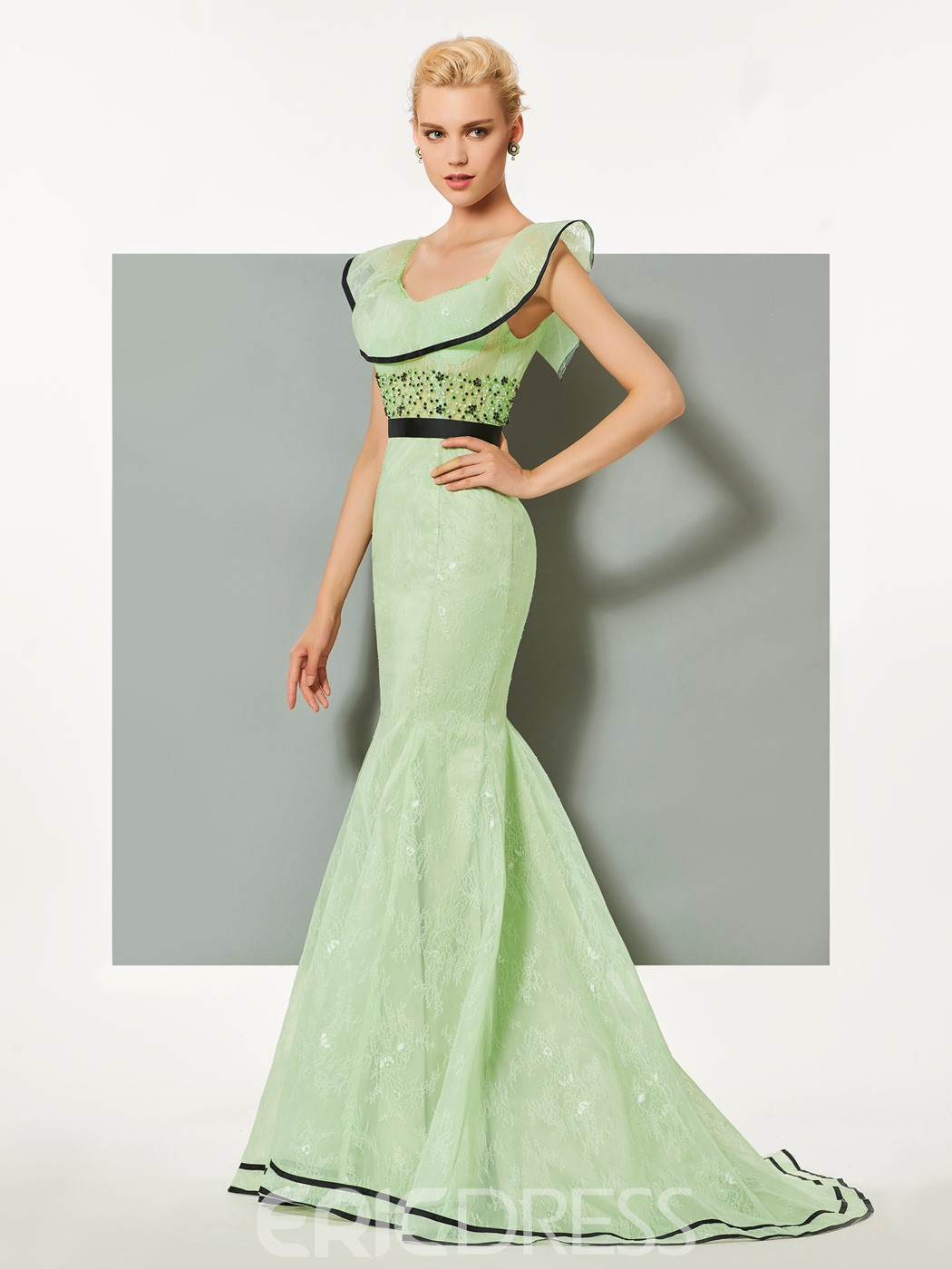 Ericdress Mermaid Scoop Lace Ruffles Court Train Evening Dress