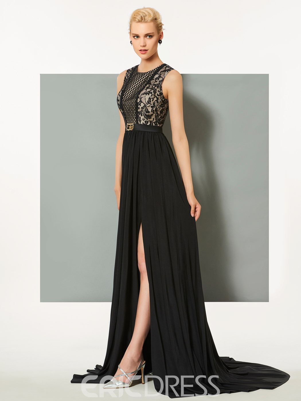 Ericdress A Line Lace Chiffon Long Evening Dress With Side Slit
