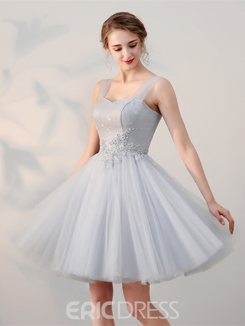 Ericdress A-Line Appliques Beading Lace Straps Short Homecoming Dress