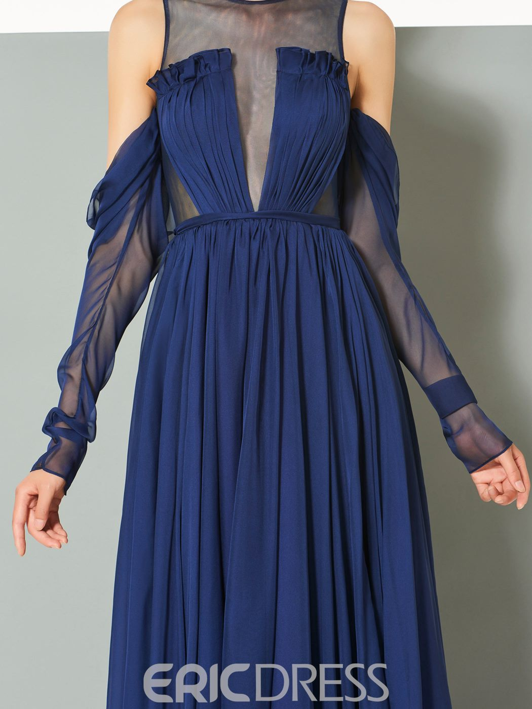 Ericdress A Line Long Sleeve Off The Shoulder Pleats Evening Dress