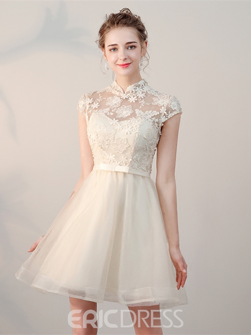 Ericdress A-Line High Neck Appliques Mini Homecoming Dress With Bowknot