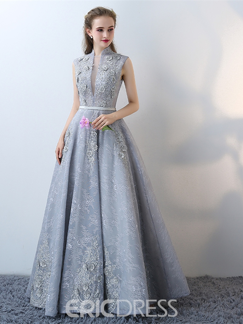 Ericdress A-Line High Neck Lace Flowers Floor-Length Evening Dress ...