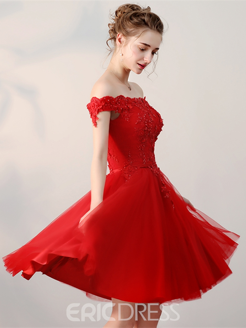 Ericdress Off The Shoulder Applique Short A Line Homecoming Dress With Lace-Up Back