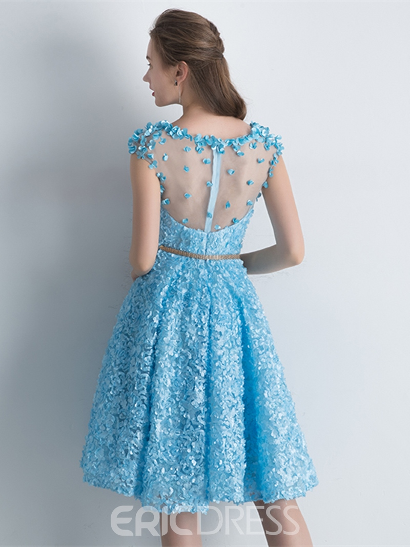 Ericdress A-Line Cap Sleeves Bateau Lace Knee-Length Homecoming Dress
