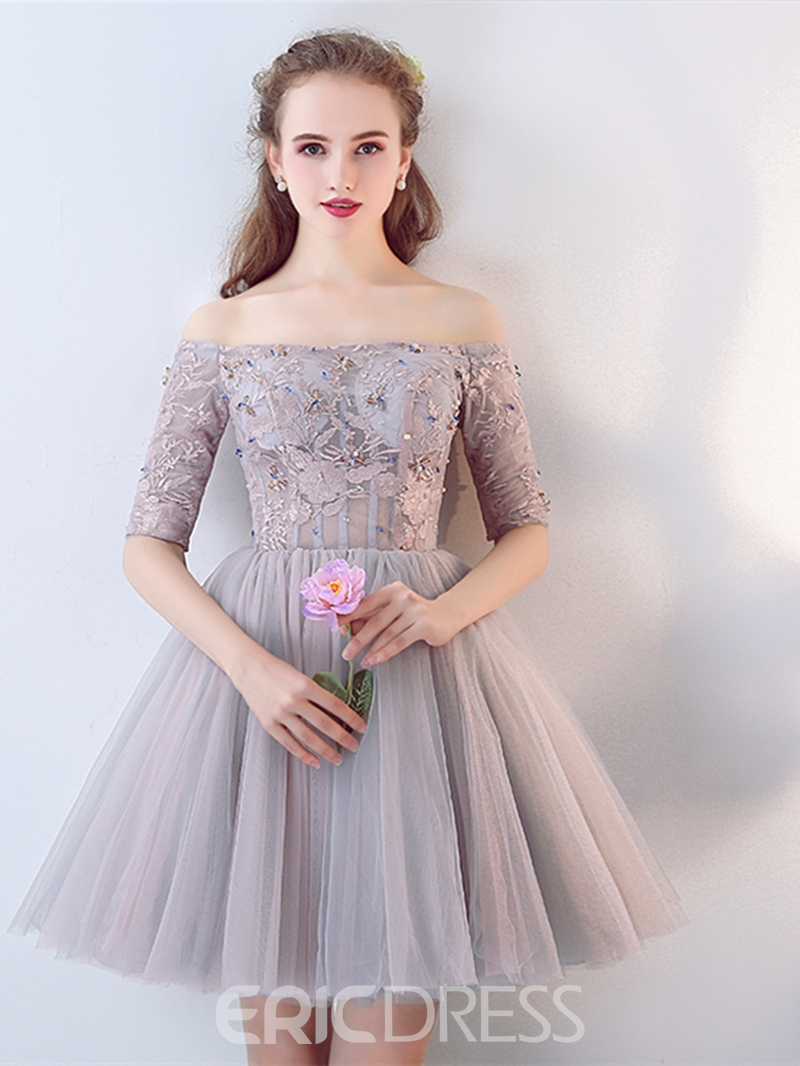Ericdress A Line Off The Shoulder Half Sleeve Lace Beaded Short Homecoming Dress