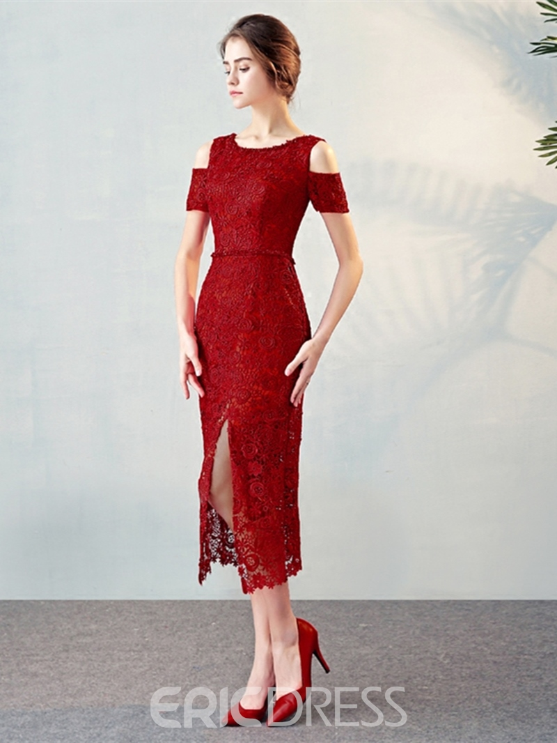 Ericdress Sheath Short Sleeves Lace Split-Front Tea-Length Cocktail Dress