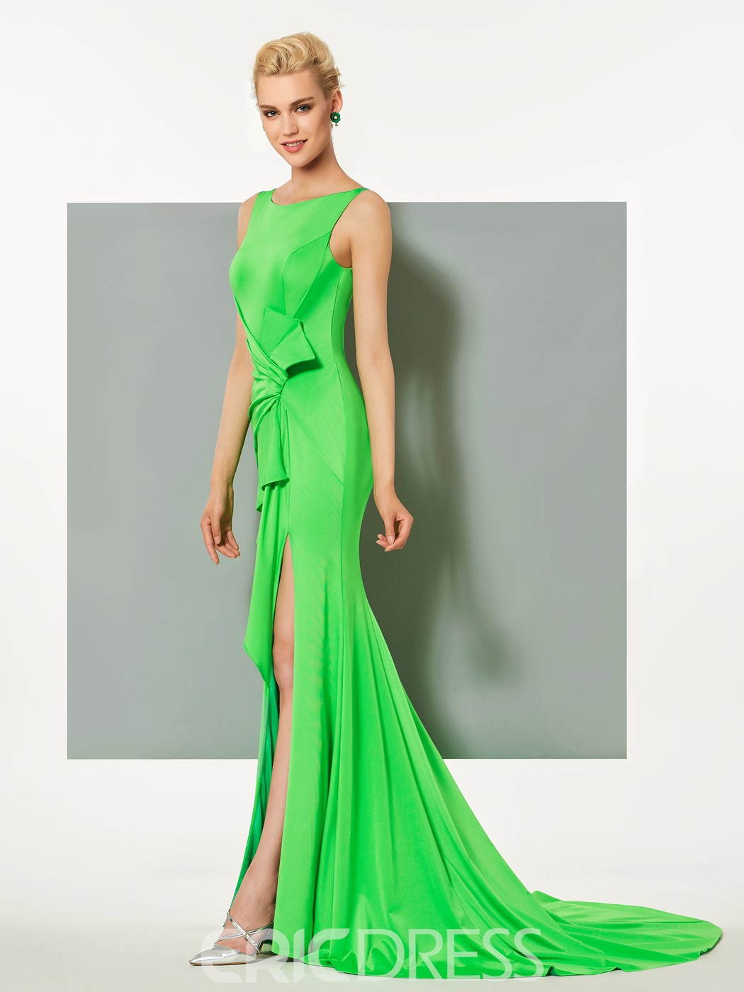 Ericdress Bateau Neck Side Slit Mermaid Evening Dress With Court Train