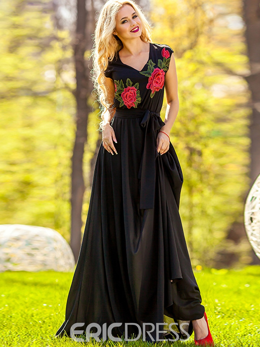 Ericdress V-Neck Embroidery Expansion Maxi Dress