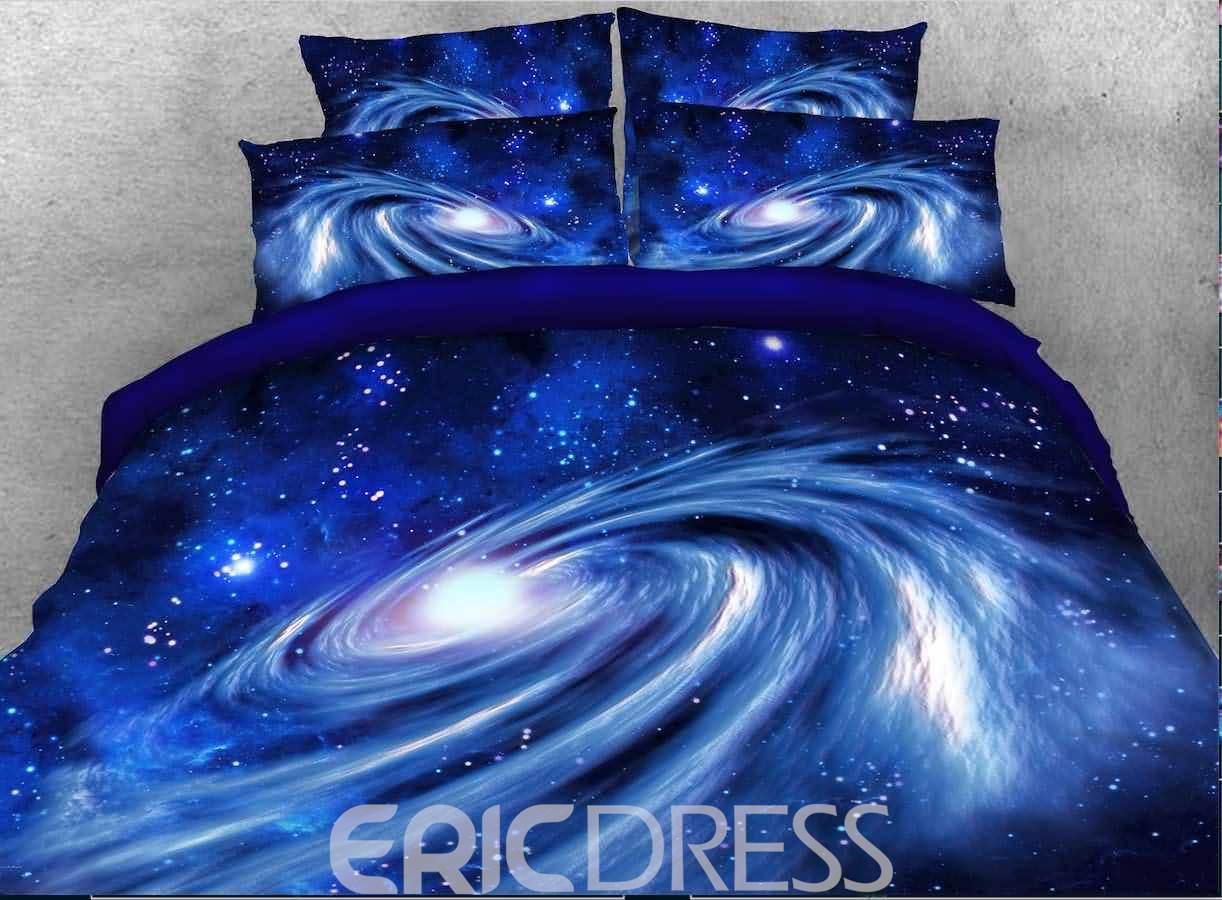 Vivilinen 3D Spiral Galaxy Universe Printed Cotton 4-Piece Blue Bedding Sets/Duvet Covers