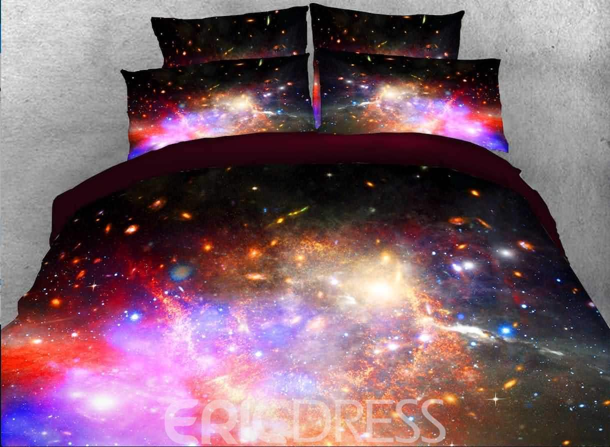 Vivilinen Galaxy and Star Cluster Printed 3D 4-Piece Bedding Sets/Duvet Covers