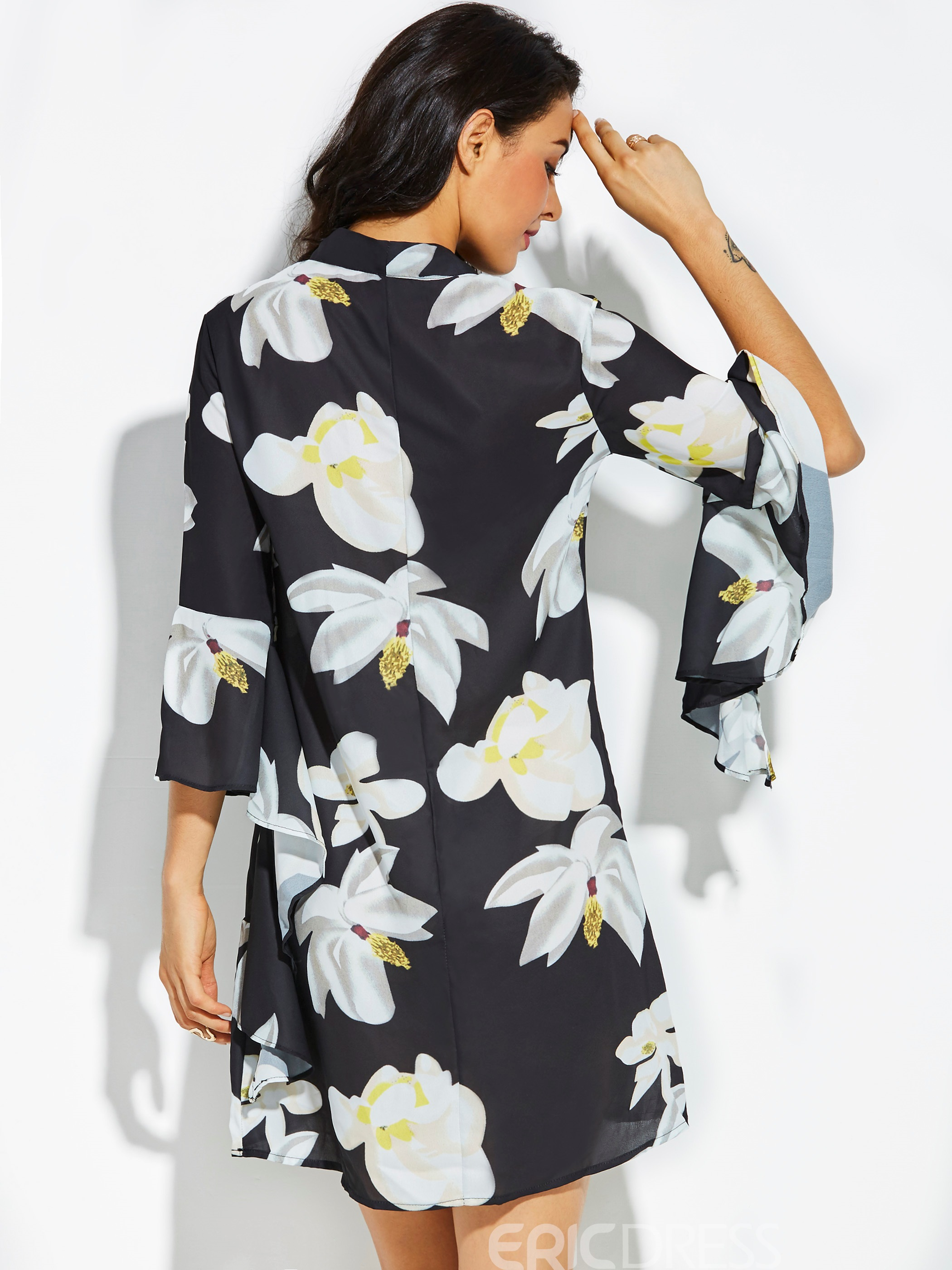 Ericdress Flower Print Flare Sleeve Women's A-Line Dress