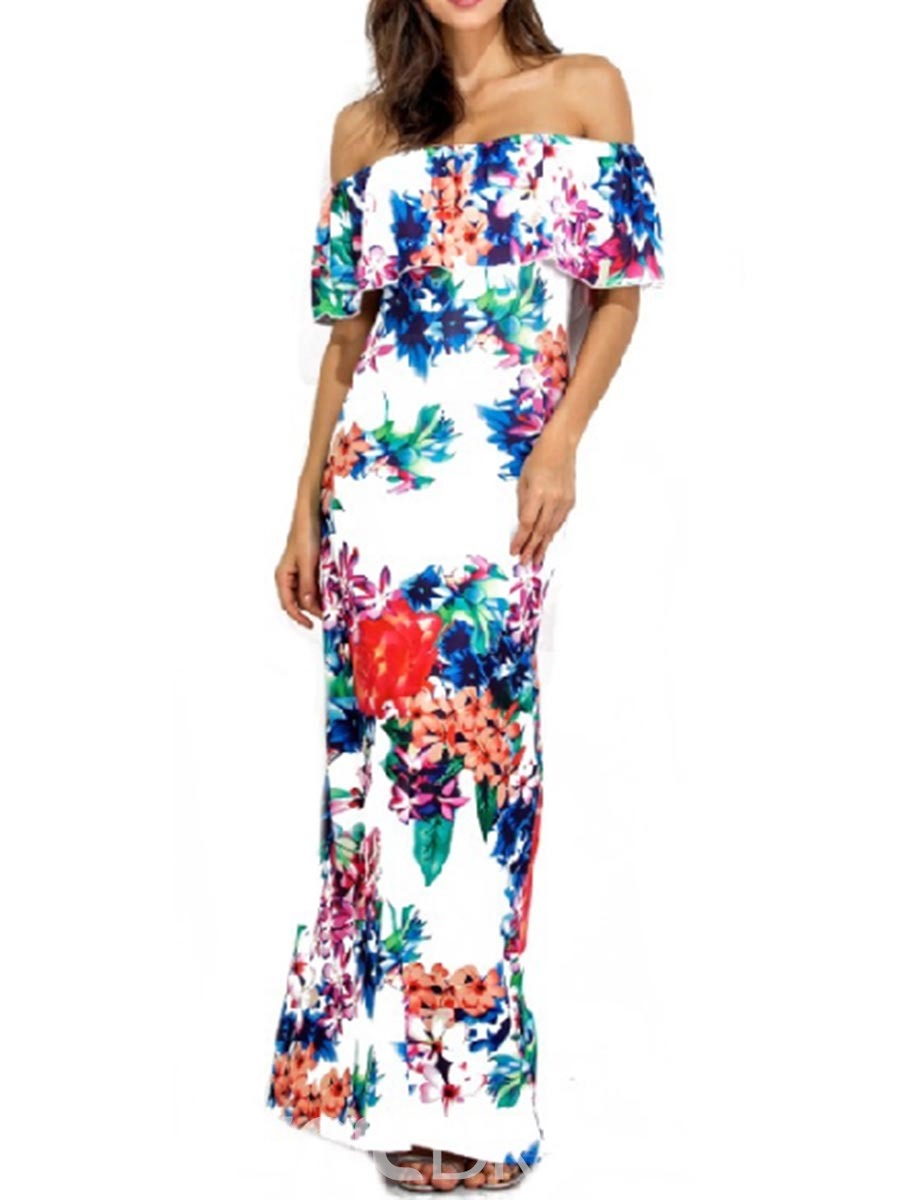 Ericdress Print Slash Neck Sexy Maxi Dress