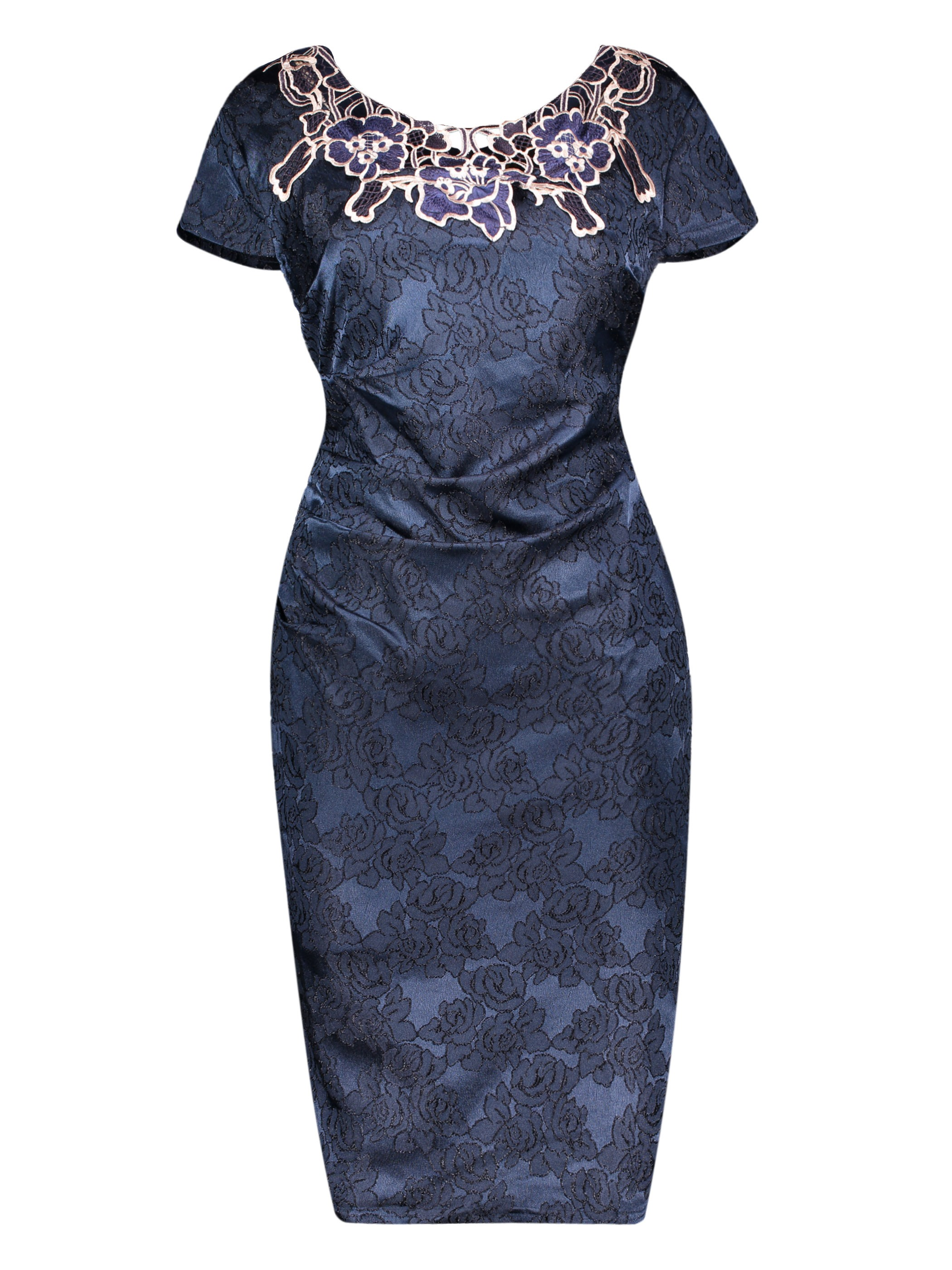 Round Neck Floral Embroideried Women's Pencil Dress