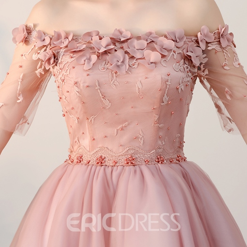 Ericdress A Line Off The Shoulder Half Sleeve Lace-Up Homecoming Dress