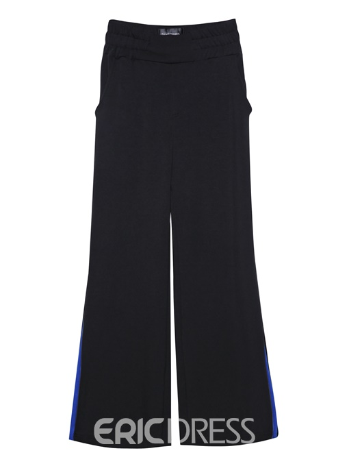 Color Block Wide Legs Full Length Women's Pants