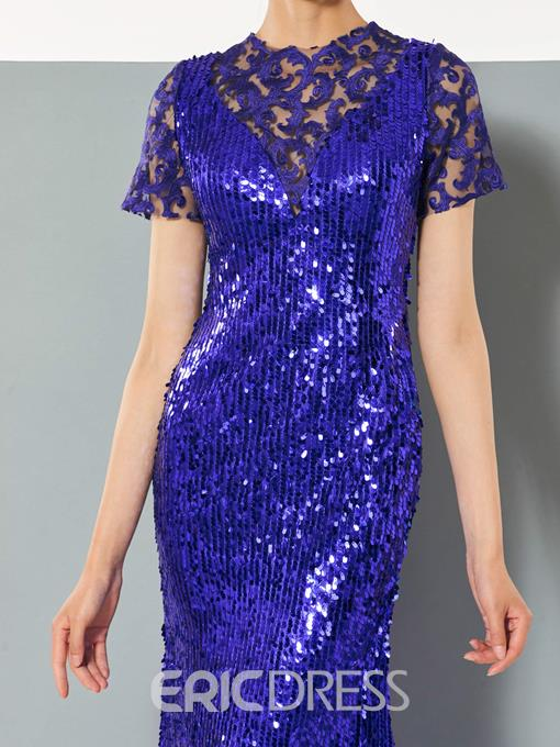 Ericdress Short Sleeve Sequin Mermaid Evening Dress With Sweep Train