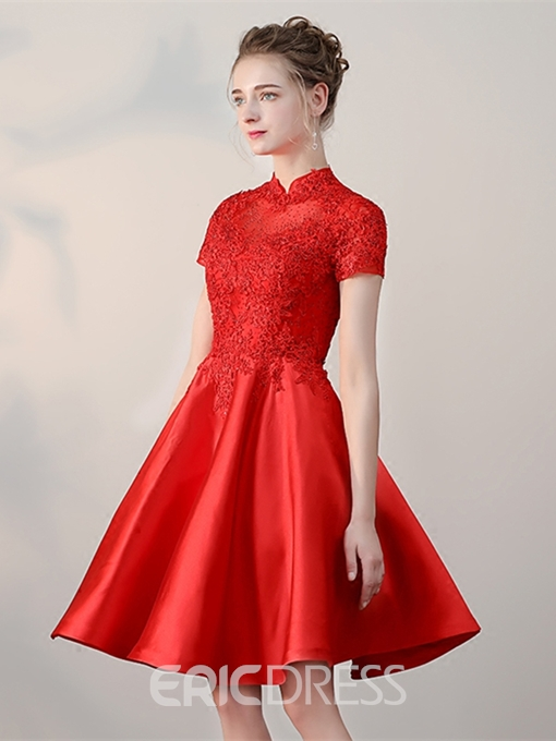 Ericdress A-Line Short Sleeves Lace High Neck Homecoming Dress