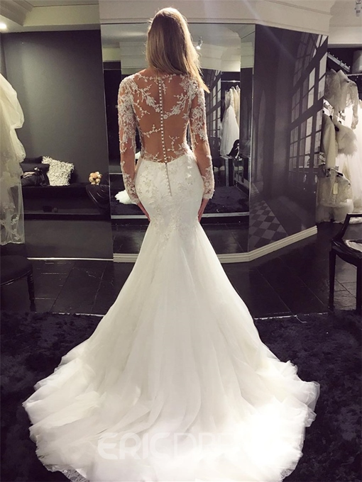 Ericdress Button Mermaid Long Sleeves Appliques Wedding Dress