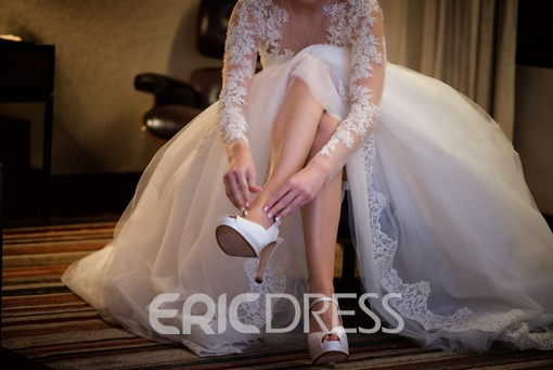 Ericdress Long Sleeves Button Appliques Hall Wedding Dress