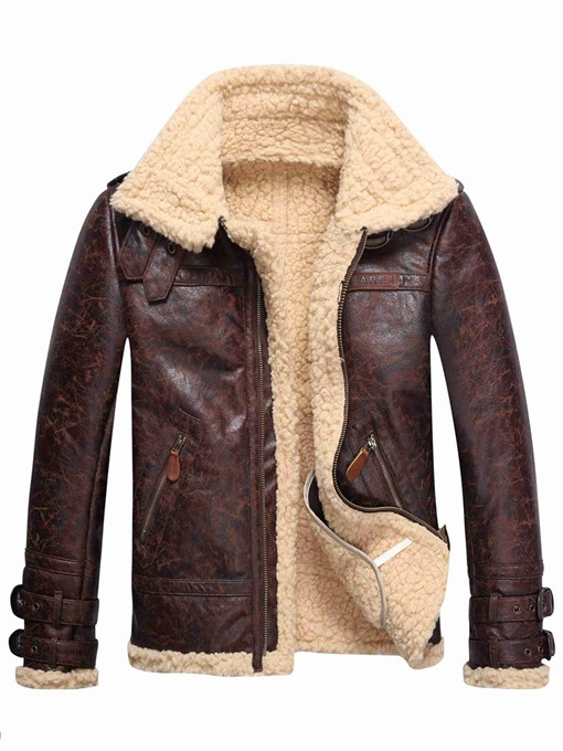 Ericdress Faux Shearling Thicken Warm Small Size Men's PU Coat