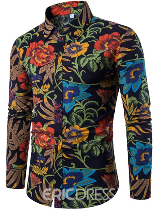 Men's Clothing Floral Print Patchwork Color Block Lapel Slim Shirt
