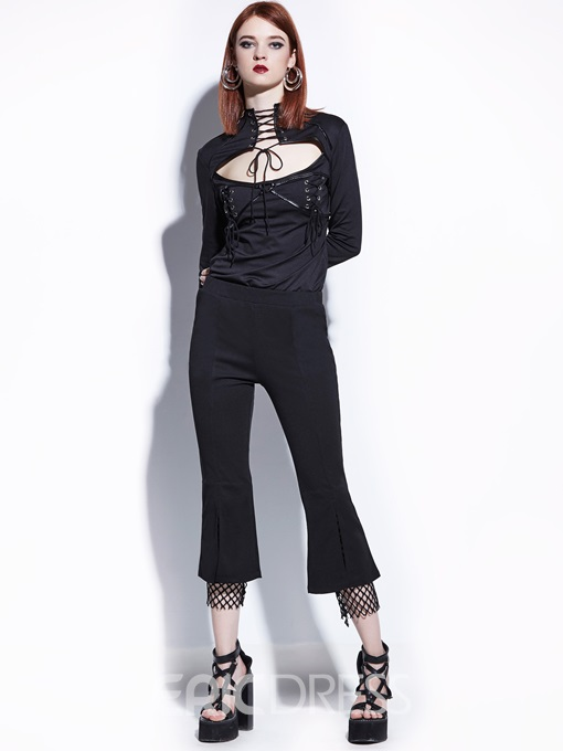 Slim Ankle Length Mesh Patchwork Women's Bellbottoms
