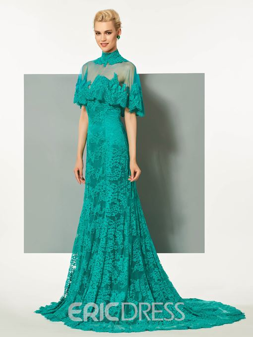 Ericdress High Neck A-Line Lace Button Floor-Length Evening Dress