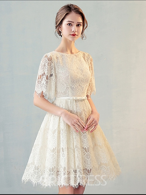 Ericdress A Line Scoop Neck Short Sleeve Lace Short Homecoming Dress