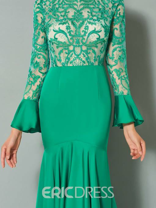 Ericdress Long Sleeve Applique Mermaid Evening Dress With Sweep Train