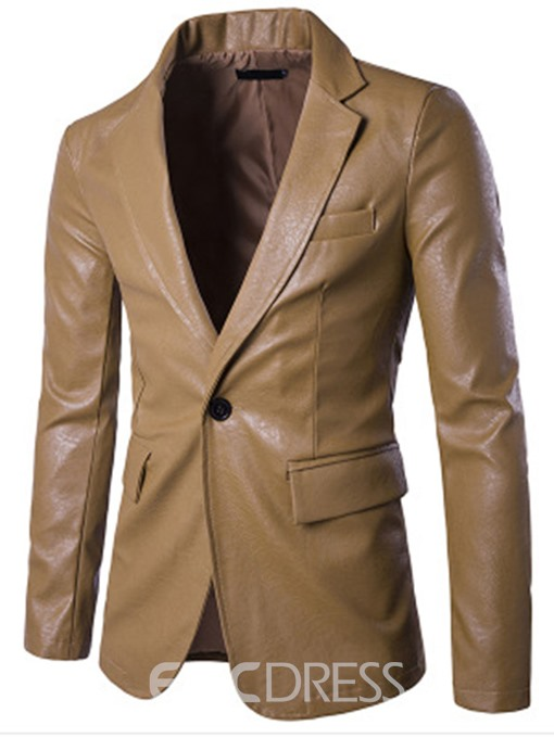 Ericdress Notched Collar One Button Slim Men's PU Blazer