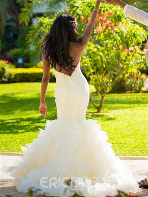 Ericdress Sweetheart Ruffles Beaded Mermaid Wedding Dress
