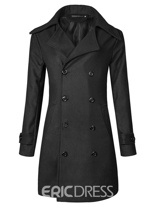 Ericdress Plain Double-Breasted Vogue Slim Men's Wool Coat